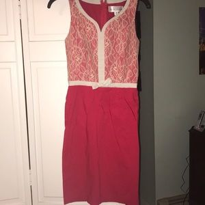 Dresses - Pink lace work place dress